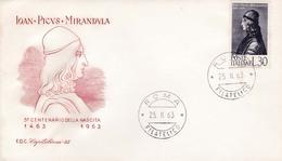 1963 ITALIA - PICO DELLA MIRANDOLA - FDC CAPITOLIUM - FDC