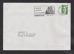 Flamme Dpt 62 : FOUQUIERES LES LENS (SCOTEM N° 12013 Du 28/09/1991 => 27/12/1991) : Fidélite - Volonté - Allez Fouquière - Postmark Collection (Covers)