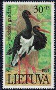 Lituanie 1991 Neuf Avec Gomme Oiseau Ciconia Nigra Cigogne Noire