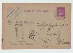 1935 - ENTIER TYPE PAIX RECOMMANDE De LYON Pour RUMILLY (HAUTE SAVOIE) - Marcophilie (Lettres)