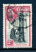 Ceylon 1938-49 KGVI Pictorials - 2c Tapping Rubber - P.13½ Used (SG 386b) - Ceylon (...-1947)