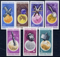 HUNGARY 1965 Space Exploration Imperforate Set MNH / **.  Michel 2194-200B - Hungary