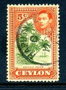 Ceylon 1938-49 KGVI Pictorials - 5c Coconut Palms - P.12 Used (SG 387g) - Ceylon (...-1947)