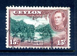 Ceylon 1938-49 KGVI Pictorials - 15c River Scene Used (SG 390) - Ceylon (...-1947)