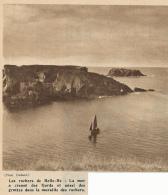 Photo (1951) : BELLE-ILE (Morbihan), Les Rochers De Belle-Ile, Fjords, Grottes (12 Cm X 12 Cm) - Vieux Papiers