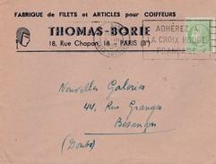 Enveloppe Commerciale 1948 THOMAS BORIE / Paris / Filets Articles Pour Coiffeurs / Cerès 2 F Mazelin / Croix Rouge - Cartes