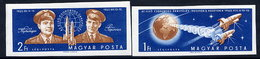 HUNGARY 1962 Vostok 3 And 4 Space Flights Imperforate MNH / **.  Michel 1863-64B - Hungary