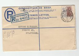1942 South Africa REGISTERED Postal STATIONERY COVER UPRATED Stamps Pietersburg To Nylstroom - South Africa (...-1961)