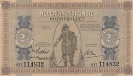 NETHERLANDS INDIES 2 1/2  GULDEN 1940 MUNTBILJETTEN ISSUE VG-F P-109a  (free Shipping Via Regular Air Mail (buyer Risk) - Billets