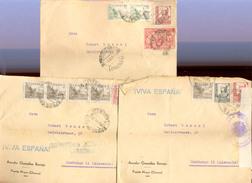 Espagne  Lot 3 Belles Lettres   Censure 1937-38 - Otras Colecciones