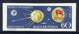 HUNGARY 1959 Landing Of Moon Probe Luna 2 Imperforate MNH / **.  Michel 1626B, - Nuovi