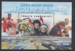 TURKEY, 2016, MNH, HUMANITARIAN SUMMIT, CHILDREN, DOCTORS, NUMBERED S/SHEET