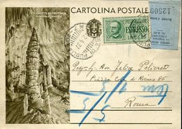 20262 Italia, Stationery Card Circuled 1937, Speleology, The Postumia Grottes, Caves, Hohlen