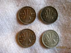 Australia: 6 X 3 Pence 1944, 1949, 1951, 1954, 1958, 1962 - Threepence