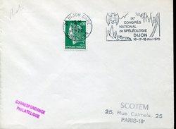 20263 France, Circuled Cover With Special Postmark Dijon 1970 Congres Speleology, 1970,speleologie,bat,