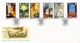 GUERNSEY - 1987 -  Enveloppe 1er Jour - Anniversaire De La Mort De Guillaume Le Conquerrant (Tp N° 401 à 406) + Feuillet - Guernsey