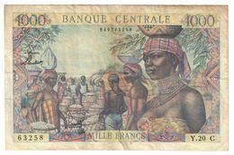 Equatorial Africa 1000 Francs 1963 Repaired, Big Tear - Banknotes