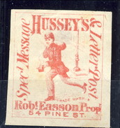 US Local 1854 - 66 New York Hussey's Special Message - Rosso M NON Dent - 1845-47 Emissions Provisionnelles