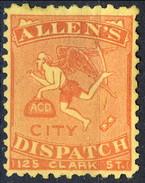 US Sc# 3L3 LOCAL Allen's City Dispatch 125-Clark Street, Red Yellow 1883 $400 - 1845-47 Emissions Provisionnelles