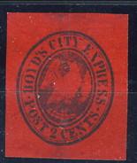 US Local 1844-68 Boyd's City Express Post 2 Cent. Rosso Porpora M - 1845-47 Emissions Provisionnelles