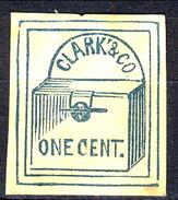 US Local 1857 Clark & Co. One Cent. Azzurro Su Bianco New York, M - 1845-47 Emissions Provisionnelles