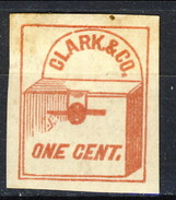US Local 1857 Clark & Co. One Cent. Rosso Su Bianco New York, M - 1845-47 Emissions Provisionnelles