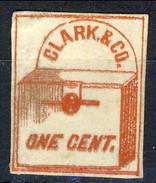 US Local 1857 Clark & Co. One Cent. Rosso Su Bianco New York, M - 1845-47 Emissioni Provinciali