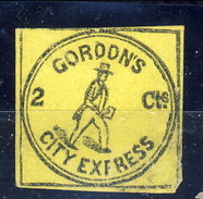 US Local 1848, Gordon's City Express 2 Cts Nero Su Giallo, New York, M - 1845-47 Emissions Provisionnelles
