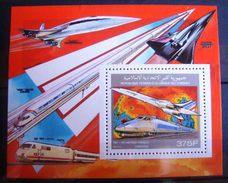 Bloc Timbre Neuf : Concorde - TGV Atlantique. Comores - 1990. Michel N° BL331A. - Avions