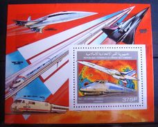 Bloc Timbre Neuf : Concorde - TGV Atlantique. Comores - 1990. Michel N° BL331A. - Aerei