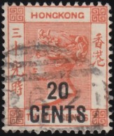 HONG KONG - Scott #51 Queen Victoria 'Surcharged' / Used Stamp - Hong Kong (...-1997)