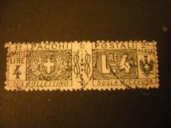 REGNO -1914-22,  Sass. N. 15, PACCHI POSTALI, Lire 4 Grigio, Usato TTB - 1900-44 Vittorio Emanuele III