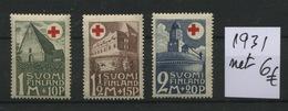 1931 Croix Rouge Finlande  Châteaux Castles Red Cross  Postfrich