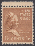 !a! USA Sc# 0805 MLH SINGLE W/ Top Margin - Martha Washington
