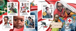 Centrafrica 2012, Red Cross Of France, Dunant, 4val In BF+BF IMPERFORATED - Centrafricaine (République)