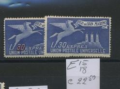 San Marino  Expressi. 15 Et 18**  Parfait Sans Charnière Cote 22,50 Euros - Express Letter Stamps