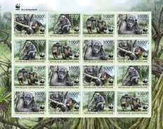 Centrafrica 2012, WWF, Gorilla, 4val In BFx4 In Sheetlet IMPERFORATED - W.W.F.