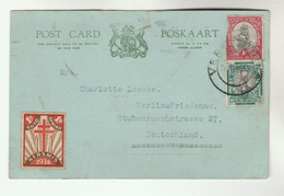 1939 SOUTH AFRICA COVER (card) With 1938 TB LABEL  Tuberculosis To GERMANY Health Medicine Stamps - South Africa (...-1961)