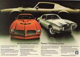 Pontiac Firebird & Trans-Am   1973  -  Vintage Advertising Postcard  -    CPM - Voitures De Tourisme