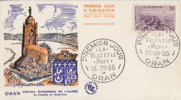 Enveloppe  1er  Jour    ALGERIE     ORAN     La  Ville   Et   Le  Port     1956 - Algérie (1924-1962)