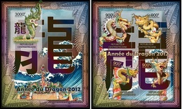 Centrafrica 2012, Year Of The Dragon, 4val In BF+BF - Astrologia