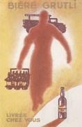 Carte Publicitaire : Biere Grutli Livrée Chez Vous  Carte De Livraison Brasserie Grutli Les Moulineaux (92) - Publicité