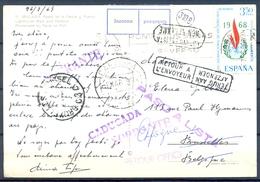 1969 , MALAGA - BRUSELAS  , TARJETA POSTAL DEVUELTA  , DIVERSAS MARCAS - 1961-70 Storia Postale