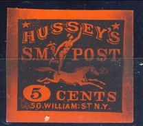 US Local, 1862 Hussey's SM Post 5 Cents, Nero Su Arancio - 1845-47 Emissions Provisionnelles