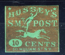 US Local, 1862 Hussey's SM Post 10 Cents, Oro Su Verde - 1845-47 Emissions Provisionnelles