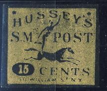 US Local, 1862 Hussey's SM Post 15 Cents, Oro Su Nero - 1845-47 Emissions Provisionnelles