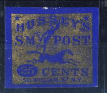 US Local, 1862 Hussey's SM Post 20 Cents,  Oro Su Blu - 1845-47 Emissions Provisionnelles