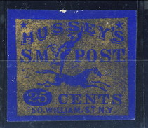 L8/40 US Stamp BOB Local 1863 87LE5 Hussey's S.M. Post 25c, Wide Margins - 1845-47 Emissioni Provinciali