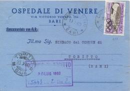 Italia 1960 Cartolina Ospedaliera Con 25 Lire XVII Giochi Olimpici Estivi A Roma