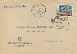 Italia 1964 Raccomandata Da Firenze Per Perugia Con 115 Lire Centenario Del CAI Club Alpino Italiano (1963)